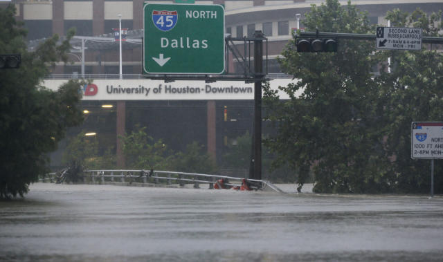 Floodwaters from Tropical Storm Harvey has forced the University of Houston football team north to Austin. (AP)
