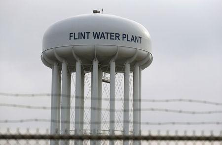FILE PHOTO: The Flint Water Plant tower is seen in Flint, Michigan, U.S. on February 7, 2016.   REUTERS/Rebecca Cook/File Photo