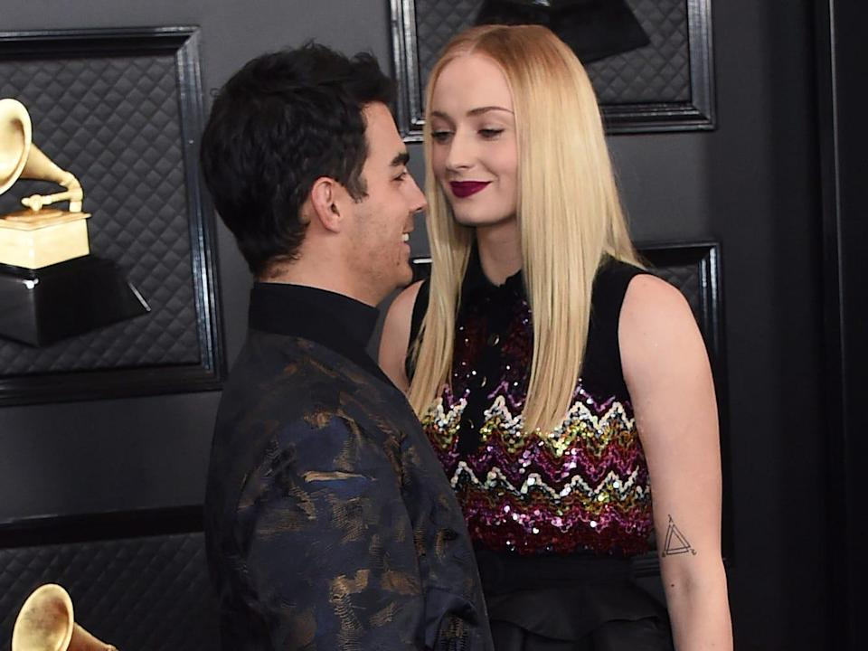 joe jonas and sophie turne at the 2020 grammys