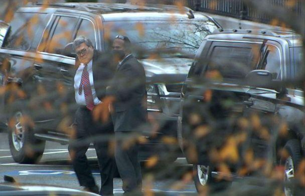 PHOTO: Attorney General William Barr arrives at the White House on Dec. 1, 2020 in Washington. (ABC News)