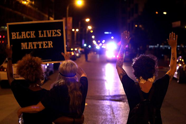 Marchers in St. Louis on Sept. 17, after the verdict in the murder trial of Jason Stockley. (Photo: Joshua Lott/Reuters)