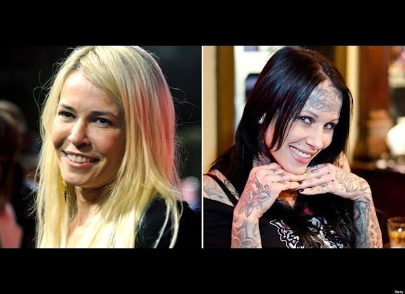 "Chelsea Handler <a href=""http://blog.zap2it.com/pop2it/2010/04/chelsea-handler-goes-after-michelle-bombshell-mcgee-some-more.html"" target=""_hplink"">started a feud with Jesse James' tattooed mistress Michelle ""Bombshell"" McGee in 2010,</a> with a joke she wrote on her blog: ""I guess she doesn't read magazines which makes sense, since she basically has one on her face."" McGee responded on her Facebook page writing: ""Chelsea, here's some free advice: Use some of that Botox from your forehead and put it in your flabby underarm skin. I've seen better wings in a bucket of KFC chicken."" And later wrote, """"In all seriousness, Im a big fan of 'Chelsea Lately' ... I was laughing my ass off.... feel so honored to have a transexual [sic] poke fun of me ..."" Don't mess with a comedian -- Handler didn't hold back with her response to McGee: ""First of all, look at my forehead, you dumb bitch, okay? It moves ... You have a tattoo on your forehead, so you have had a needle in your forehead -- and probably Jesse James' balls. So shut your face."""