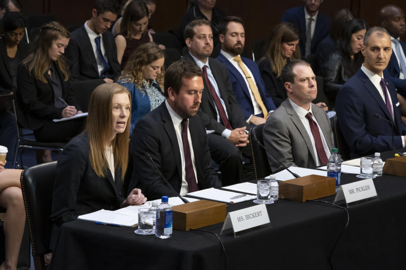 From left Monika Bickert, head of global policy management at Facebook, Nick Pickles, public policy director for Twitter, Derek Slater, global director of information policy at Google, and Anti-Defamation League Senior Vice President of Programs George Selim testify before the Senate Commerce, Science and Transportation Committee on how internet and social media companies are prepared to thwart terrorism and extremism, Wednesday, Sept. 18, 2019, on Capitol Hill in Washington. (AP Photo/J. Scott Applewhite)