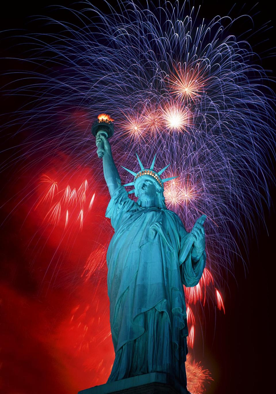 Statue of Liberty and Fireworks composit.