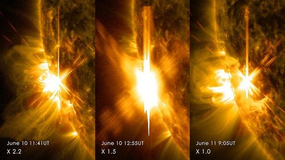 Three X-class solar flares erupted from the left side of the sun between June 10-11, 2014.