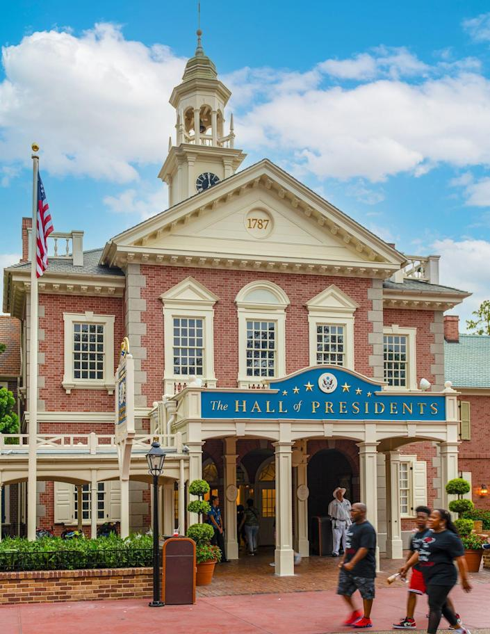 The exterior of the Hall of Presidents attraction at Disney World's Magic Kingdom.