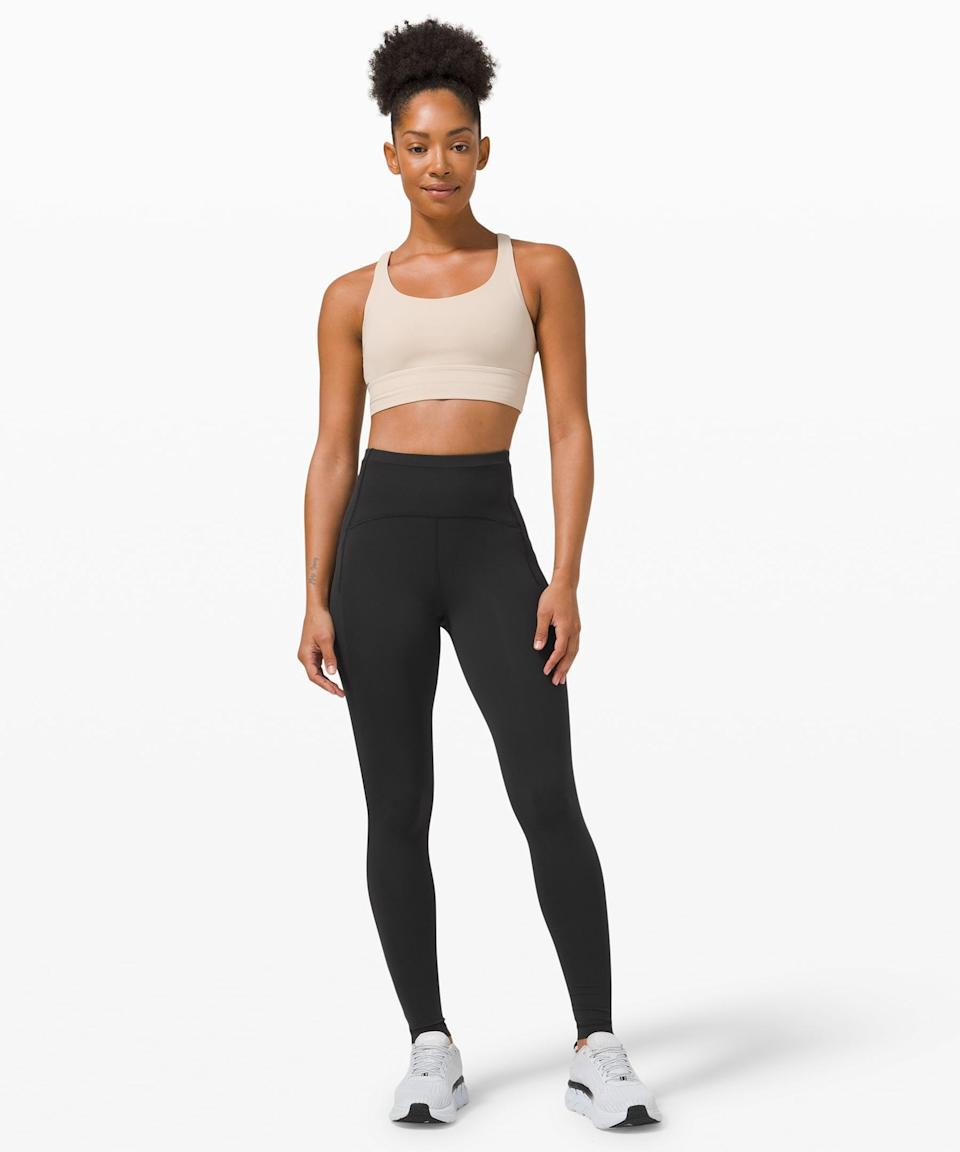 <p>When we run, we get sweaty. That's about the time we reach for the classic <span>Lululemon Swift Speed High-Rise Tight</span> ($128). They're made of Luxtreme, a proprietary Lululemon fabric, that will keep you held in while the sweat stays at bay. Whether you love running, boxing, or dance cardio, these leggings will help you stay all kinds of supported.</p> <p><b>Why we love it:</b> Hot days and nights have nothing on these moisture-wicking leggings, that will keep you cool through all kinds of high-impact activities.</p>