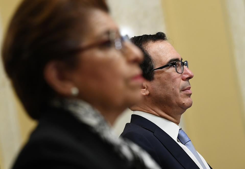 WASHINGTON, DC - JUNE 10: U.S. Secretary of the Treasury Steven Mnuchin waits to testify before the Senate Small Business and Entrepreneurship Hearings to examine implementation of Title I of the CARES Act on Capitol Hill on June 10, 2020 in Washington, DC. (Photo by Kevin Dietsch - Pool/Getty Images)