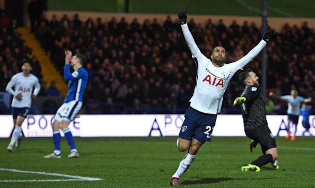 Lucas Moura celebrates after scoring Tottenham's first goal in the 2-2 FA Cup draw against Rochdale at Spotland.