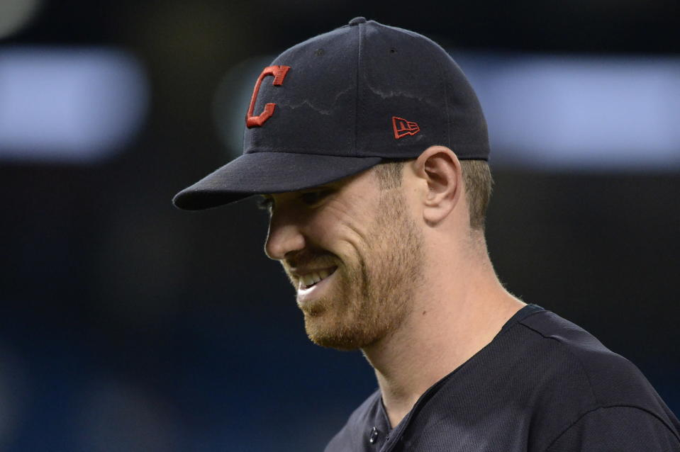 Cleveland Indians starting pitcher Shane Bieber smiles after eighth inning of a baseball game against the Toronto Blue Jays, Wednesday, July 24, 2019 in Toronto. (Nathan Denette/Canadian Press via AP)