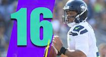 <p>Russell Wilson had eight attempts and 39 passing yards in the first half on Sunday against a Rams defense that got torched by Drew Brees the week before. He's one of the best QBs in the game and shouldn't be minimized in the gameplan. (Russell Wilson) </p>