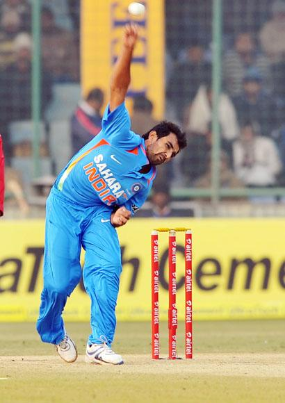 Shami Ahmed (India) got a wicket for Indian Victory by 10 runs against Pakistan during the 3rd One Day Internationals Match between India & Pakistan at Ferozeshah Kotla Stadium in Delhi on January 6, 2013. P D Photo by Asish Maitra