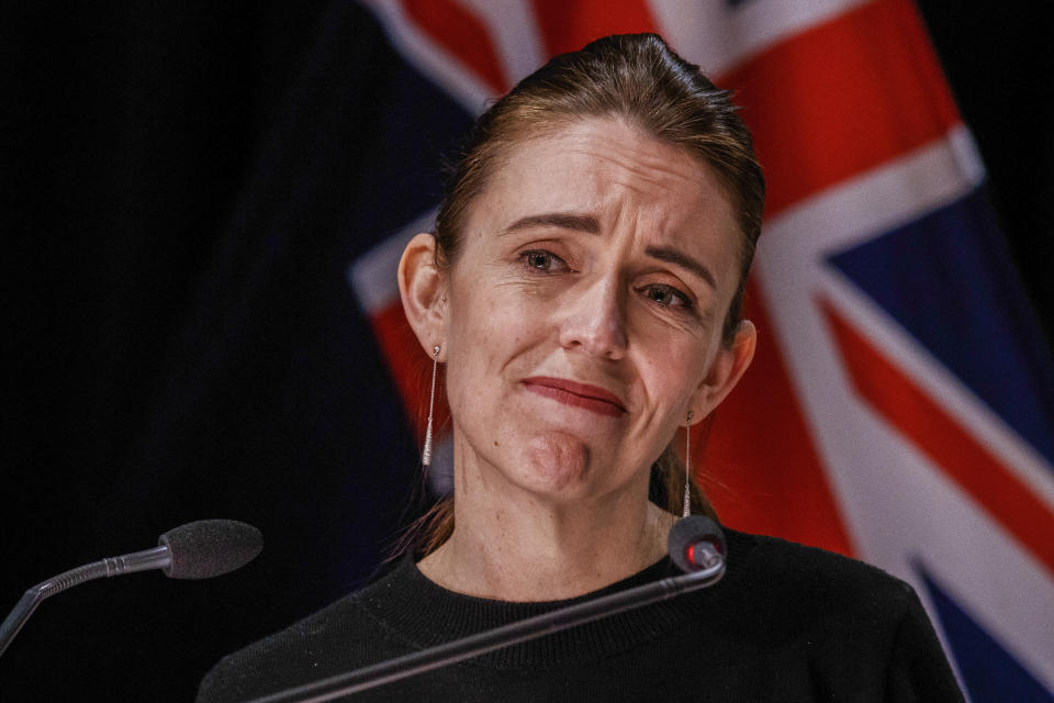 New Zealand Prime Minister Jacinda Ardern listens to a question during a COVID-19 response update press conference in Wellington, New Zealand on Aug. 19, 2021. Ardern imposed the strictest form of lockdown for the entire nation immediately after the first person tested positive in Auckland. (Robert Kitchin/Pool Photo via AP)