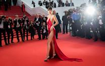 "<p>Bella Hadid is known for her head-turning red carpet looks, and she certainly gained a lot of attention in this red silk Alexandre Vauthier Couture gown, which featured a plunging neckline, low back and hip-high split. ""It's important to push boundaries and over the years I've done that,"" she explained to us <a href=""https://www.harpersbazaar.com/uk/fashion/fashion-news/a20679502/bella-hadid-interview-cannes-royals/"" rel=""nofollow noopener"" target=""_blank"" data-ylk=""slk:later in an interview in Cannes"" class=""link rapid-noclick-resp"">later in an interview in Cannes</a>. ""I like to do whatever makes me feel good and a lot of the time that is pushing the boundaries."" </p>"