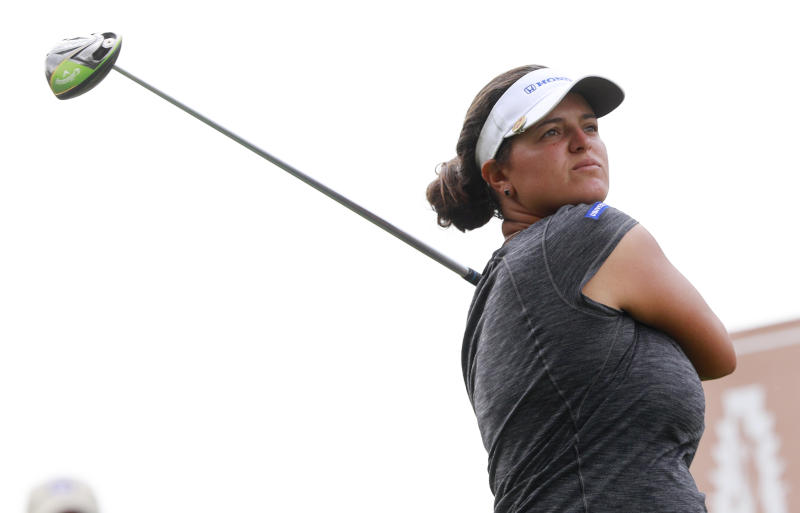 Maria Torres, of Puerto Rico, hits her tee shot from the tenth hole during the final round of the Indy Women in Tech Championship golf tournament, Sunday, Sept. 29, 2019, in Indianapolis. (AP Photo/R Brent Smith)