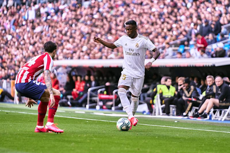 MADRID, SPAIN - FEBRUARY 01: Vinicius Jr. of Real Madrid during the Liga match between Real Madrid CF and Club Atletico de Madrid at Estadio Santiago Bernabeu on February 01, 2020 in Madrid, Spain. (Photo by Sonia Canada/Getty Images)