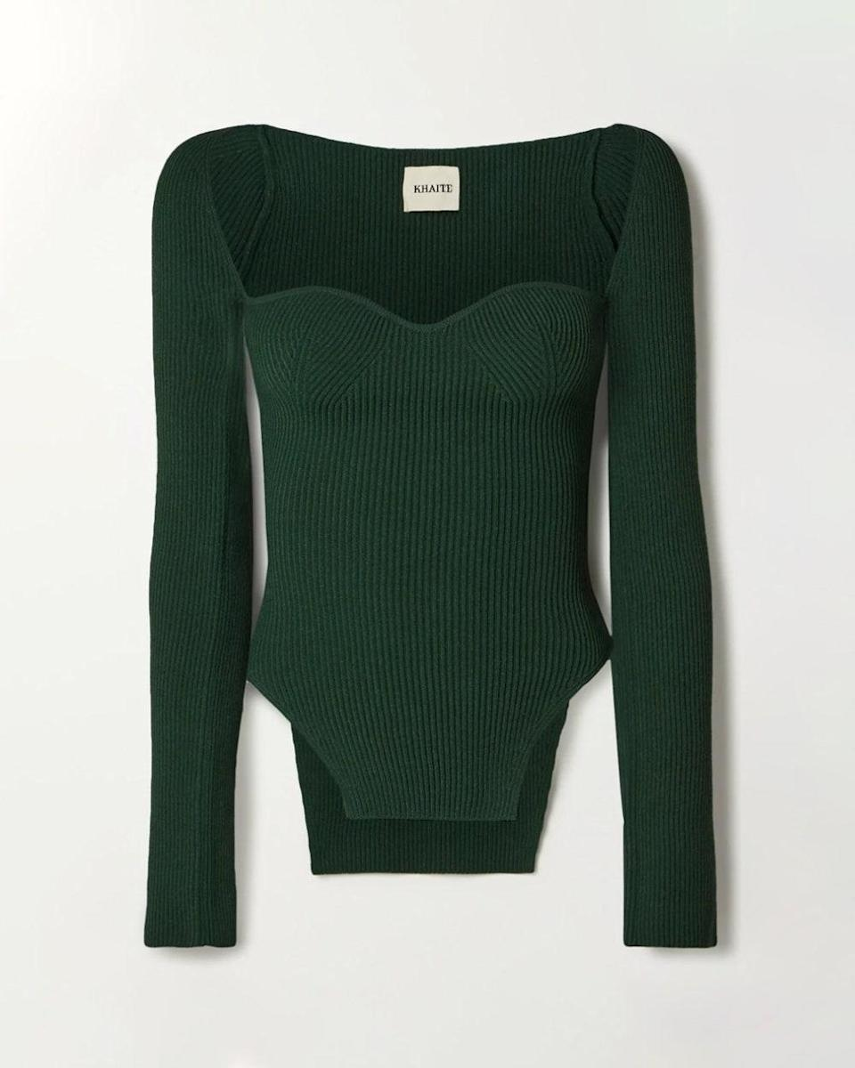 """""""Khaite is one of my all time favorite brands, and I'll take any chance to acquire a new piece for my wardrobe. This chic ribbed knit has been living in my mind, rent free. Now is the time to stop procrastinating and bring this baby home."""" - <em>Kia D. Goosby, Market Editor</em> $1080, Net-a-Porter. <a href=""""https://www.net-a-porter.com/en-us/shop/product/khaite/clothing/blouses/maddy-ribbed-knit-sweater/31432202864841415"""" rel=""""nofollow noopener"""" target=""""_blank"""" data-ylk=""""slk:Get it now!"""" class=""""link rapid-noclick-resp"""">Get it now!</a>"""