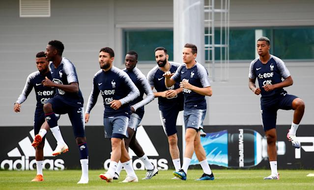 Soccer Football - World Cup - France Training - France Training Camp, Moscow, Russia - June 22, 2018 France players in action during training REUTERS/Axel Schmidt