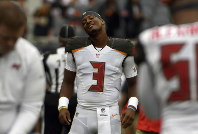 Tampa Bay Buccaneers' Jameis Winston is resuming his job as the team's starting quarterback after a three-game suspension for violating the NFL personal conduct policy. (AP)
