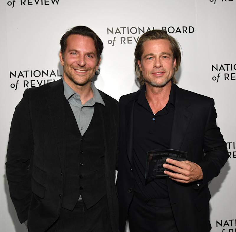 NEW YORK, NEW YORK - JANUARY 08: Bradley Cooper and Brad Pitt attend The National Board of Review Annual Awards Gala at Cipriani 42nd Street on January 08, 2020 in New York City. (Photo by Kevin Mazur/Getty Images for National Board of Review)