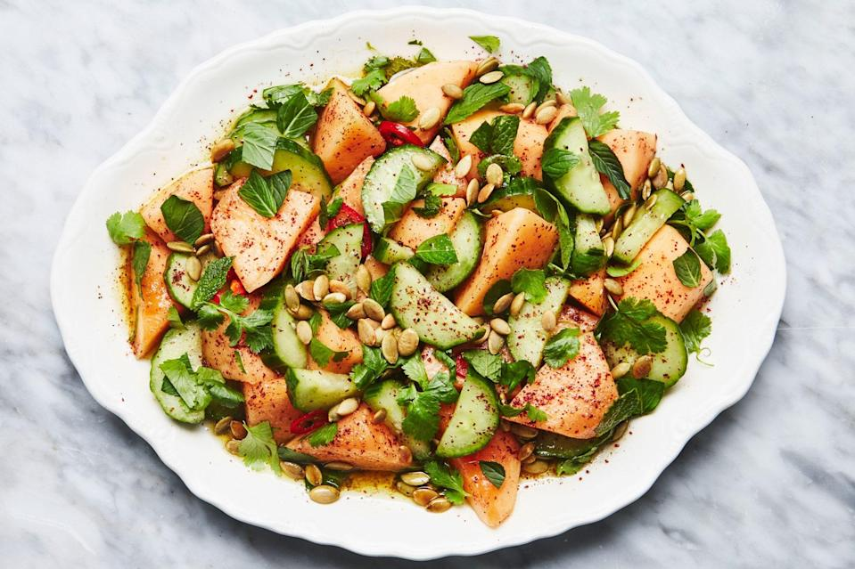 "Toss sweet melon and crisp cukes in a bright coriander-cardamom dressing for a refreshingly delicious summer salad that walks the line between savory and sweet. (If you never realized that cucumbers actually have flavor, this is the season to find out.) <a href=""https://www.epicurious.com/recipes/food/views/savory-cantaloupe-and-cucumber-fruit-salad?mbid=synd_yahoo_rss"" rel=""nofollow noopener"" target=""_blank"" data-ylk=""slk:See recipe."" class=""link rapid-noclick-resp"">See recipe.</a>"