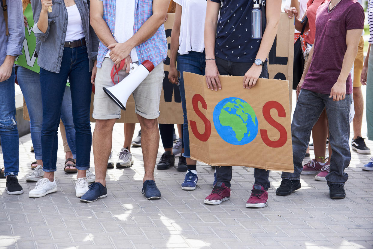 Young people from different countries showing their ideology