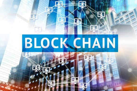 """Abstract graphic with """"Blockchain"""" in front"""