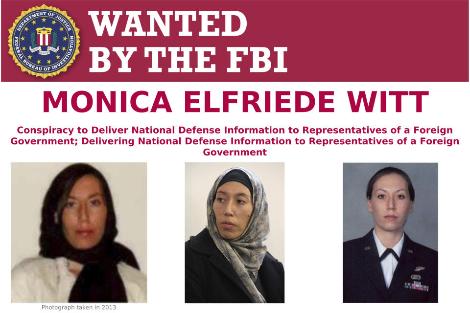 This image provided by the FBI shows part of the wanted poster for Monica Elfriede Witt. The former U.S. Air Force counterintelligence specialist who defected to Iran despite warnings from the FBI has been charged with revealing classified information to the Tehran government, including the code name and secret mission of a Pentagon program, prosecutors said Wednesday, Feb. 13, 2019. (Photo: FBI via AP)
