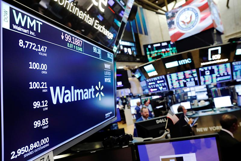 A Walmart logo appears above the floor of the New York Stock Exchange equally after opening clock in New York, USA, August 16, 2018. REUTERS / Lucas Jackson