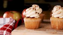 """<p>Apple pie filling is the perfect Halloween surprise.</p><p>Get the recipe from <a href=""""https://www.delish.com/cooking/recipe-ideas/a29443041/apple-pie-cupcakes-recipe/"""" rel=""""nofollow noopener"""" target=""""_blank"""" data-ylk=""""slk:Delish"""" class=""""link rapid-noclick-resp"""">Delish</a>. </p>"""