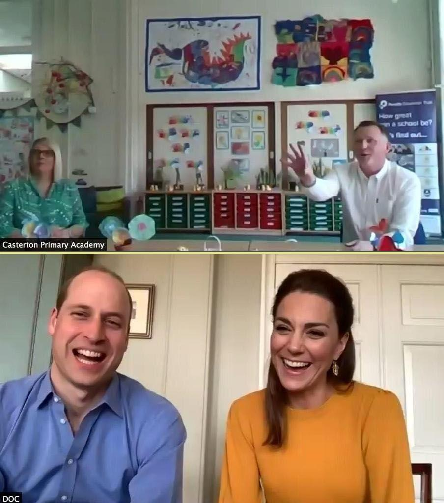 <p>Kate Middleton chose a sunny yellow sweater and leaf-inspired gold earrings for a video call with teachers working during the coronavirus crisis to provide students whose parents are essential workers with a safe place to go. </p>
