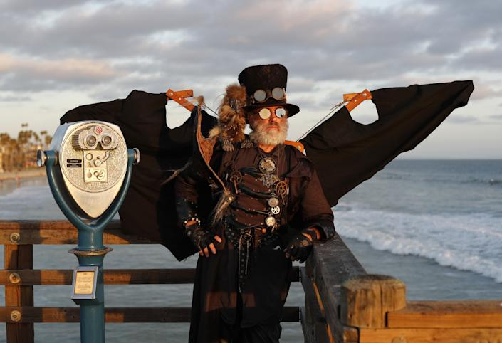 """Dean LeCrone as Dr. Artemus Peepers, safely cosplaying at the Oceanside pier. <span class=""""copyright"""">(K.C. Alfred/The San Diego Union-Tribune)</span>"""
