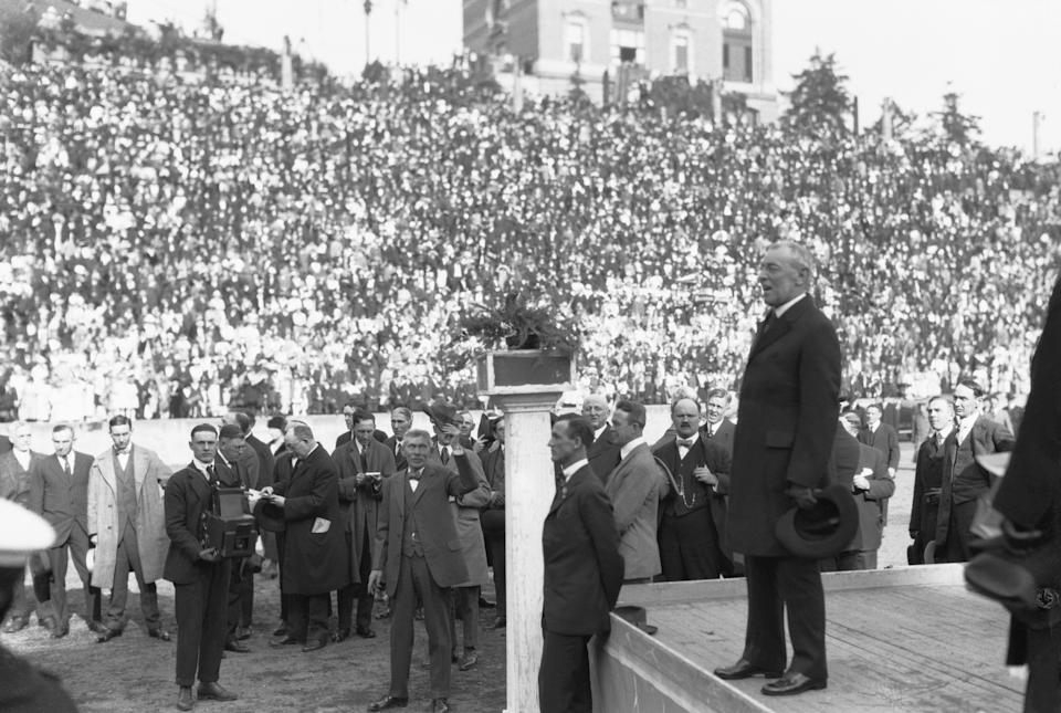 President Woodrow Wilson addressing the public in Tacoma, Washington, during his tour to promote the League of Nations on September 18, 1919. (Getty Images)