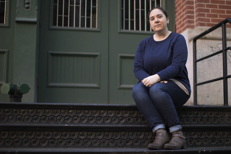 "In this Friday, Oct. 12, 2018 photo, Katie Labovitz poses for a portrait in New York. One day after actress Alyssa Milano urged the Twittersphere to join her in sharing a personal story of sexual harassment in the wake of rape allegations against Harvey Weinstein, Labovitz shared a story about being sexually assaulted by a Donald Duck mascot at Epcot Theme Park when she was 15 years old. Labovitz said the overall experience of sharing has been ""very empowering but very scary."" (AP Photo/Mary Altaffer)"