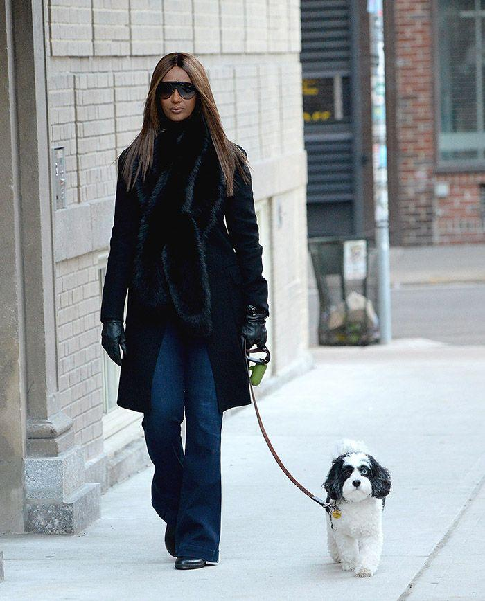 Iman spotted walking her dog who, like Bowie, has two different coloured eyes. Source: Getty
