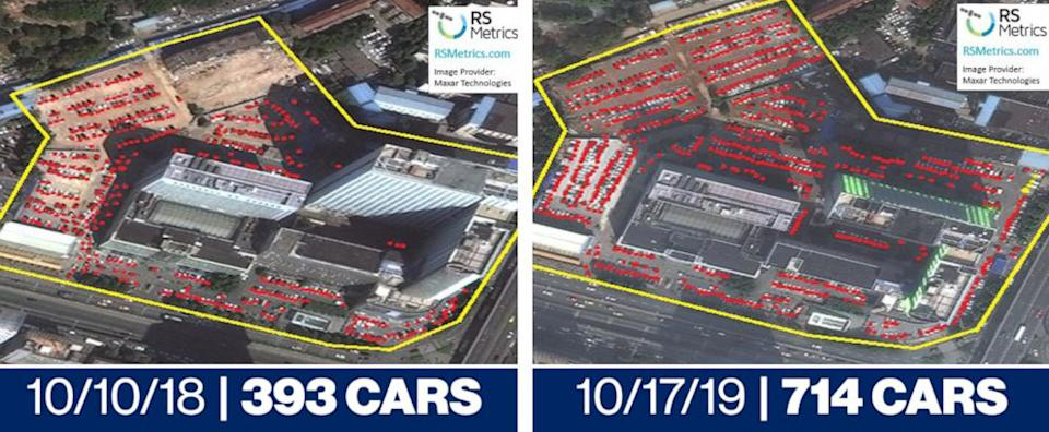 Satellite images show nearly twice as many cars as the same time last year. Source: ABC News