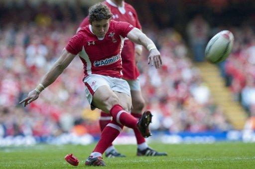 Wales' full-back Leigh Halfpenny kicks a penalty during their Six Nations rugby union match against Italy at the Millennium Stadium in Cardiff, Wales. Wales won 24-3