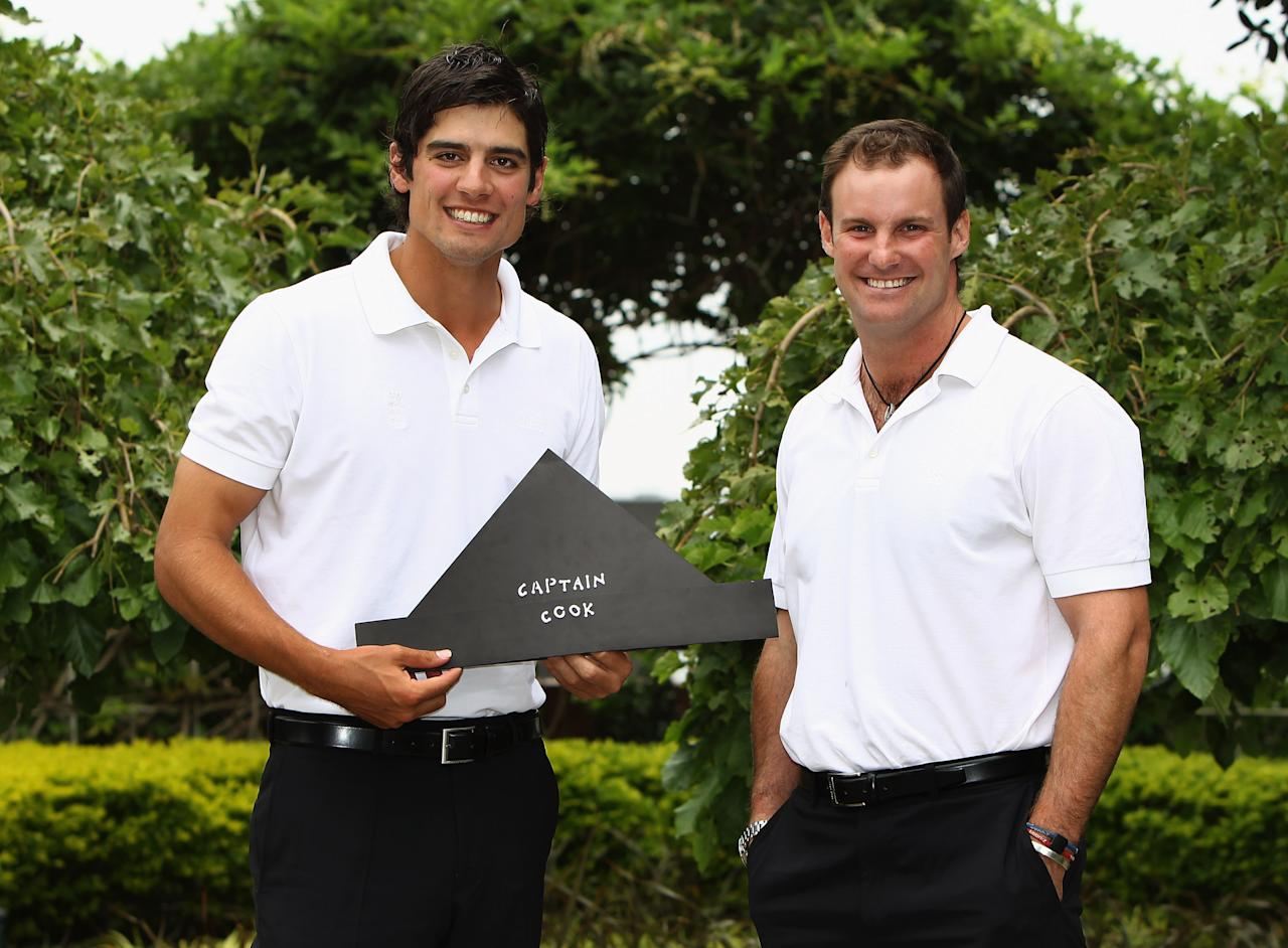 JOHANNESBURG, SOUTH AFRICA - JANUARY 18:  Alastair Cook of England poses for photographers alongside Andrew Strauss of England after being unveiled as the new England captain for the upcoming England tour of Bangladesh during a press conference at the team hotel on January 18, 2010 in Johannesburg, South Africa.  (Photo by Paul Gilham/Getty Images)