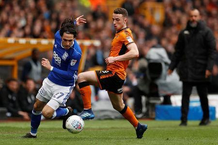 Soccer Football - Championship - Wolverhampton Wanderers vs Birmingham City - Molineux Stadium, Wolverhampton, Britain - April 15, 2018 Wolverhampton Wanderers' Diogo Jota in action with Birmingham City's Jota Action Images via Reuters/Andrew Boyers