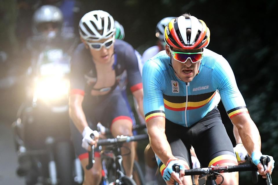 <p>Greg van Avermaet of Belgium leads the peloton during the Men's Road Race on Day 1 of the Rio 2016 Olympic Games at the Fort Copacabana on August 6, 2016 in Rio de Janeiro, Brazil. (Photo by Bryn Lennon/Getty Images) </p>