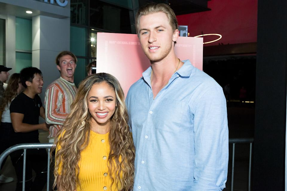 """HOLLYWOOD, CALIFORNIA - SEPTEMBER 12:  Vanessa Morgan and Michael Kopech attend the Premiere Of Neon And Refinery29's """"Assassination Nation"""" at ArcLight Hollywood on September 12, 2018 in Hollywood, California.  (Photo by Greg Doherty/Getty Images)"""