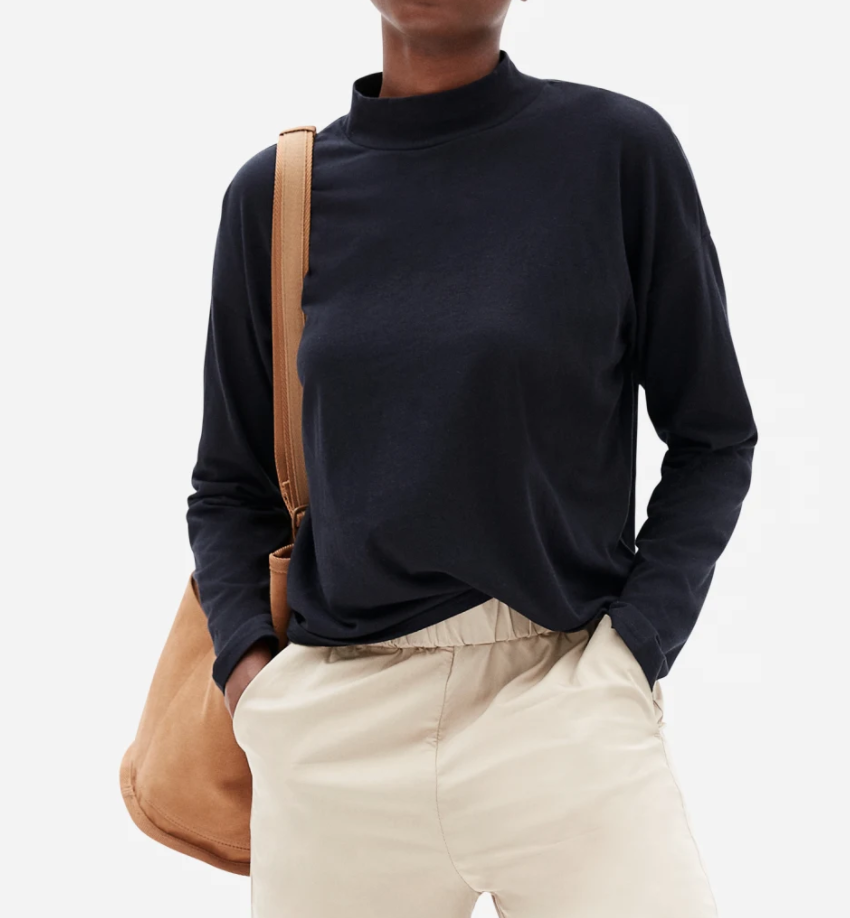 Everlane Women's Square Mockneck Tee in Black