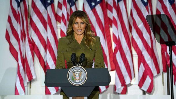 PHOTO: First lady Melania Trump delivers her live address to the largely virtual 2020 Republican National Convention from the Rose Garden of the White House in Washington, Aug. 25, 2020. (Kevin Lamarque/Reuters)