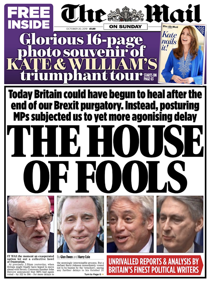 The Mail on Sunday's splash has singled out the major opponents of Boris Johnson's deal claiming they have subjected the UK to 'more agonising delay'.