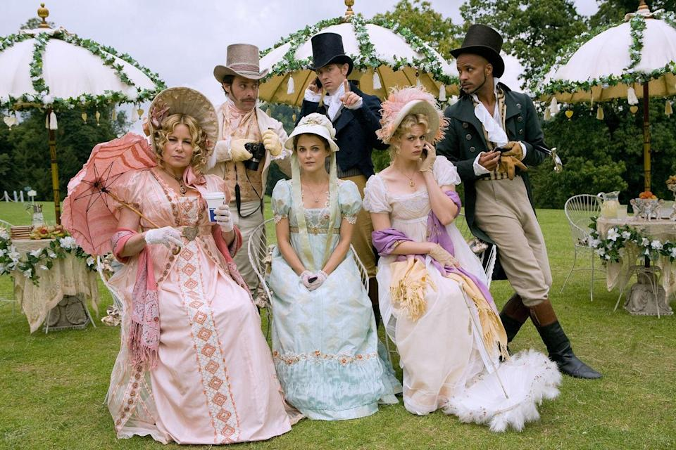 """<p>Anyone who lists <em>Pride and Prejudice</em> among their favorite books will love this cute, goofy rom-com about a young woman (Keri Russell) who goes to an Austen-themed resort to find her Mr. Darcy. Love triangles, Jennifer Coolidge's hilariously bad fake British accent, and other high jinks ensue. </p> <p><em>Available to rent on</em> <a href=""""https://www.amazon.com/Austenland-Keri-Russell/dp/B00ID4IW6O"""" rel=""""nofollow noopener"""" target=""""_blank"""" data-ylk=""""slk:Amazon Prime Video"""" class=""""link rapid-noclick-resp""""><em>Amazon Prime Video</em></a><em>.</em></p>"""