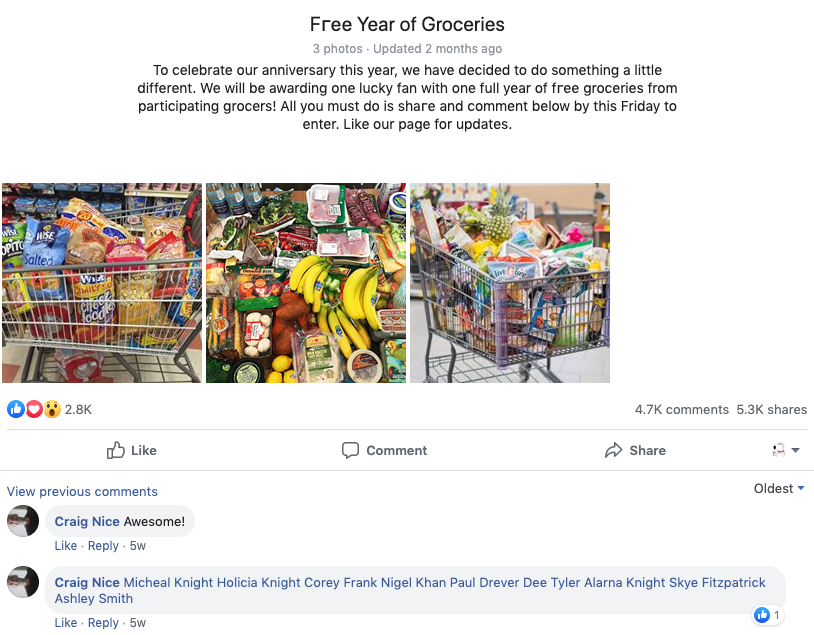 'Free year of groceries' scam posted by Facebook group Woolworths Fans.