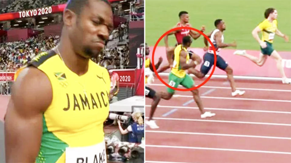 Yohan Blake, pictured here in disbelief that he'd been beaten by Rohan Browning.