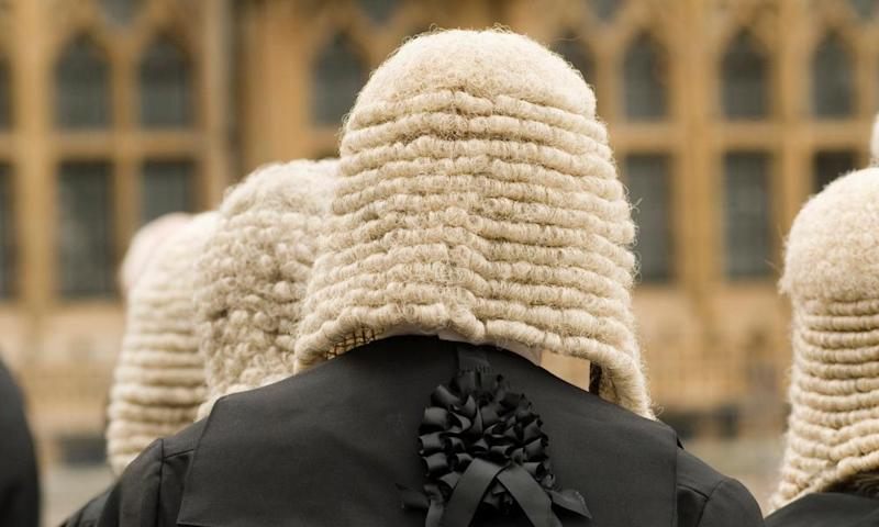 Judges outside Westminster Abbey, rear view