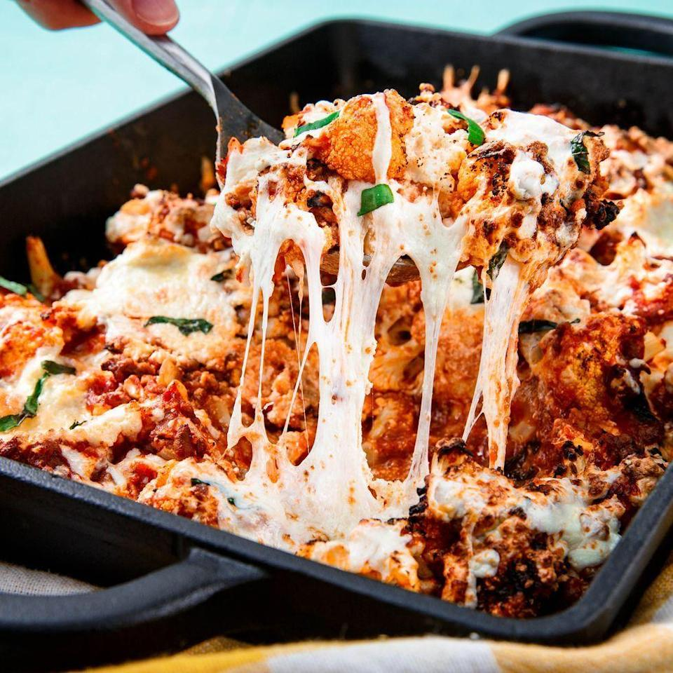 """<p>Ok fine. There's not actually any ziti in this recipe. But you honestly won't even notice. The blanched cauliflower does a fine job of replacing the pasta. Just make sure to drain it well before tossing it with the sauce. (P.S. It's also great at replacing macaroni in our <a href=""""https://www.delish.com/uk/cooking/recipes/a28996453/loaded-cauliflower-bake-recipe/"""" rel=""""nofollow noopener"""" target=""""_blank"""" data-ylk=""""slk:loaded cauliflower bake"""" class=""""link rapid-noclick-resp"""">loaded cauliflower bake</a>.)</p><p>Get the <a href=""""https://www.delish.com/uk/cooking/recipes/a31182680/cauliflower-baked-ziti-recipe/"""" rel=""""nofollow noopener"""" target=""""_blank"""" data-ylk=""""slk:Cauliflower Baked Ziti"""" class=""""link rapid-noclick-resp"""">Cauliflower Baked Ziti</a> recipe.</p>"""