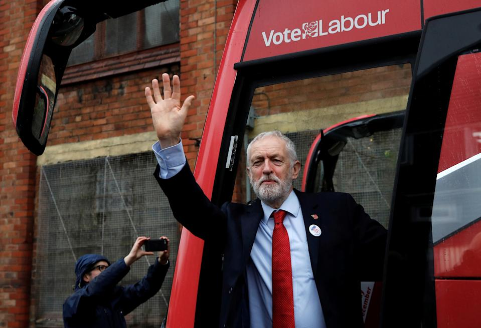 Britain's opposition Labour Party leader Jeremy Corbyn waves as he unveils the Labour party campaign bus in Liverpool, Britain November 7, 2019. REUTERS/Phil Noble